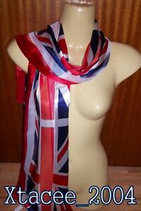 #393 Union Jack Jubilee Olympics Silky Chiffon Long Red White Blue Luxury Scarf