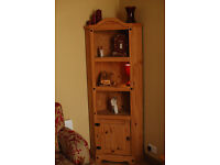 Mexican Pine 6ft tall corner display cabinet