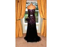 Formal/Occasion Wear Dress: Purple/Black Sleeveless, with Co-ordinating Bag. Size 10/12