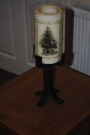 """""""Victorian"""" Christmas Tree Candle in stand a glass sleeve."""