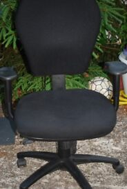 Office chair black lower back lumbar support adjustable high back rest, seat height and armrest.