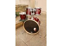 Yamaha Maple Custom Absolute Fusion 4 piece shell pack and 16 inch floor tom - cherry red