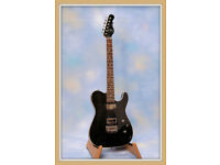 DELUXE CARVED TOP TELE BY G&L~TRANS BLACK.