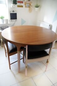 Vintage MID CENTURY Mcintosh set Extending Circular Table and 4 Chairs