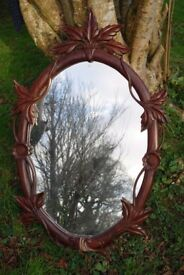 Gorgeous Carved wood vintage style large oval mirror