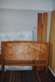 DOUBLE BED FRAME AND MATRESS: £100. Solid oak.