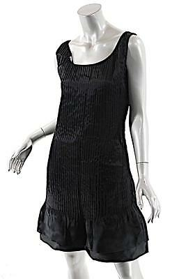 Black Silk Organza Pleated Dress - BILL BLASS Black Silk Organza Pleated/Tiered Tank Dress-LOVELY-Mint-USA- US 6/8