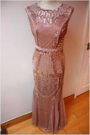 AIDAN MATTOX INDIAN / ASIAN SUIT DRESS HEAVILY BEADED EMBROIDERY SIZE EU36 UK8