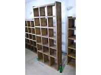 Bookcase industrial rustic solid wood salvage hunters vintage shelves pigeon holes 40cm gplanera