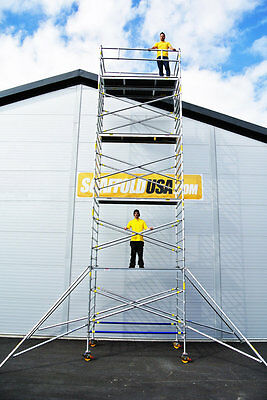 Scaffold Usa 27 Ft Double Wide Aluminum Mobile Scaffold Tower
