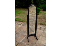 Freestanding cheval mirror 5 foot high painted black with matte varnish in good condition