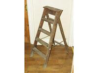 Vintage Wooden Step Ladder; Original Varnish Coating; 5x Steps; H 120cm; Condition: Used-Good