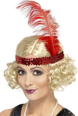 VINTAGE STYLE 1920's CHARLESTON WIG WITH SEQUIN HEADBAND FANCY DRESS, - 1920s Style Wigs