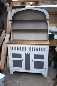 Up-cycled oak kitchen cabinet carefully painted with chalk based paint.