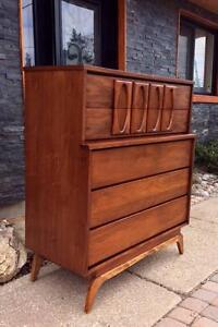 REFINISHED Mid Century Modern Walnut Tallboy 5 Drawer Dresser Credenza