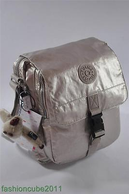 New With Tag KIPLING Lancelot Shoulder Cross Body Travel Bag - Silver Beige