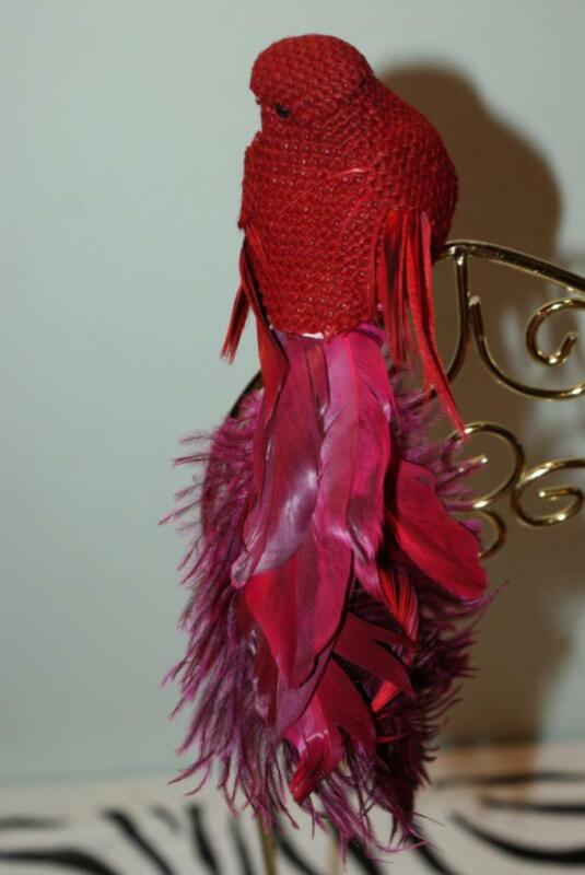 Nicole Simply Winter Maroon Bird Christmas Ornament & Clip (Real feathers)  New!