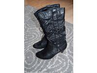 Black knee high boots size 4 UK