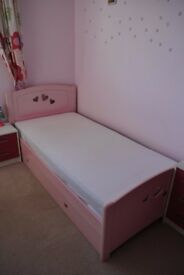 Bed Frame - Millie Collection - Pink + drawer chest + bookcase