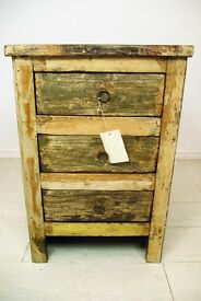 Beautiful antique solid teak wood and hand painted 3 drawer bedside table unit