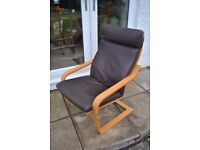 IKEA Poang Chair and Brown Leather Cover