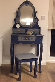 Unique fully refurbished French style dressing table set in chalk admiral blue finish