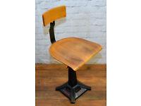 Industrial Singer swivel office chair wooden desk kitchen factory vintage retro antique machinist