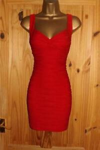Jane Norman red textured stretchy bandage bodycon mini party dress size 10 12
