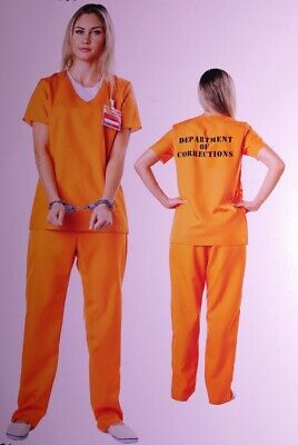 Womens PRISIONER Convict Jailbird Crook ROBBER Adult Halloween Costume S 4 6 NEW