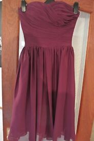 One knee length wine-coloured dress. Suitable as bridesmaid/prom dress. Size 8/10.