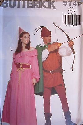Uncut Butterick Nähmuster 5749 Robin Hood Maid Marian Halloween Kostüm Oop