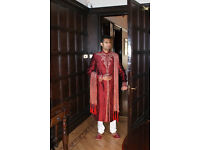 """Mens Indian Sherwani Maroon And Gold size 36""""to 50"""""""