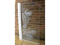 Glass shower screen 131 cm by 76cm