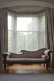9 widths of professionally made, interlined curtains. approx 337cms long