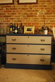 ink blue and clotted cream shade chest of drawers upcycled