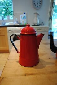 Enameled Red Tea and Coffee Pots £15 for the pair