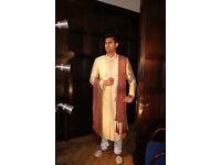 Mens New Sherwani Gold & Maroon Size 36 to 50