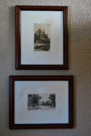 Pair of antique, signed etchings, by Frederick Whitehead, Leamington Spa, Warwickshire, 1890s