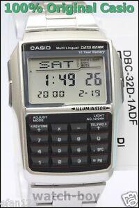 DBC-32D-1A Silver Casio E Data Bank Steel Watch DBC32D Calculator Telememo New