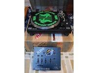 Old-school DJ decks and mixer