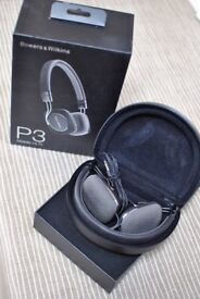 Boxed Black foldable Bowers and Wilkins B&W P3 Headphones