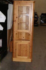 Tuscan single door half glazed Corner unit. Antique Lacquer Pine.