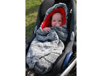 Baby car seat insert. Special design to keep baby safe and warm (Cocoon).