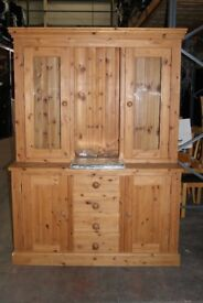 Tuscan Pine Delux Sideboard and Glazed display with lights