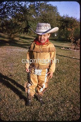 Cute Kid Boy in Awesome Western Cowboy Suit Outfit Vintage Slide Photo - Cute Western Outfits