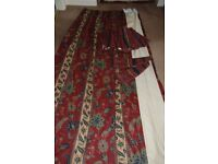 Pair of very good quality lined floor length curtains
