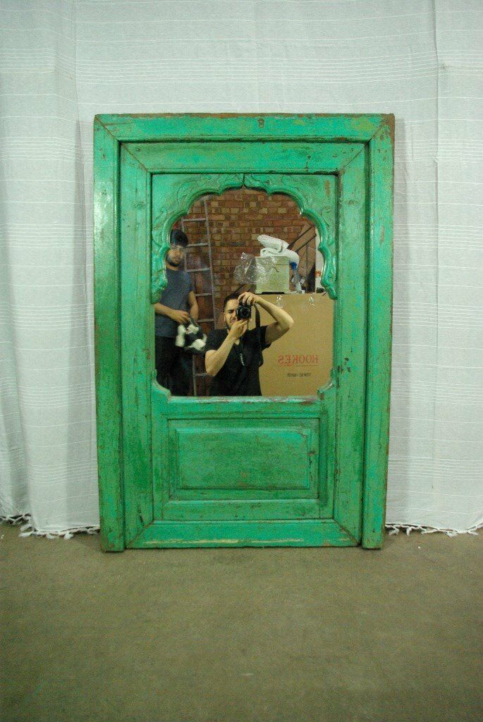 Beautiful Afghan antique wood hand carved green mirror