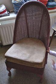 Lloyd Loom vintage pink nursing chair 1951