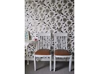 Pair of white upcycled chairs