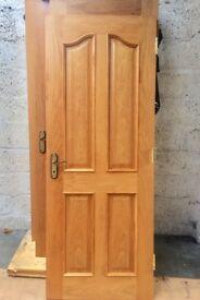 Solid oak interior doors with antique finish handles